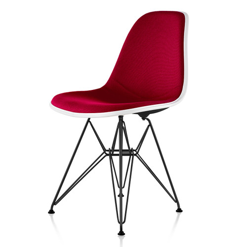 Eames Upholstered Molded Fiberglass Side Chair with Wire Base by Herman Miller