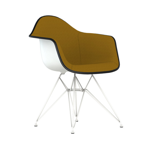 Eames Upholstered Molded Plastic Armchair with Wire Base by Herman Miller