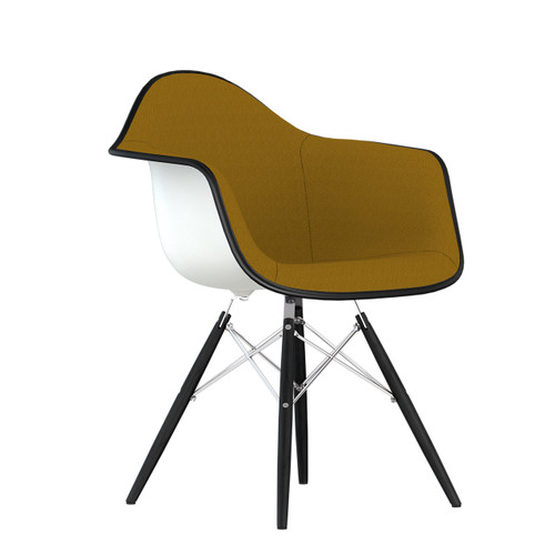 Eames Upholstered Molded Plastic Armchair with Dowel Leg Base by Herman Miller