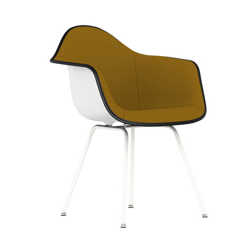 Eames Upholstered Molded Plastic Armchair with 4-Leg Base by Herman Miller