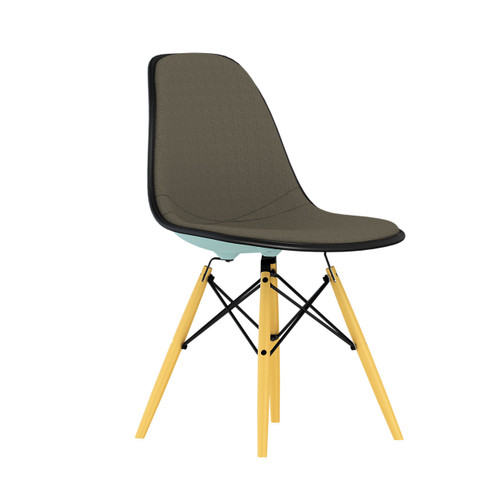 Eames Upholstered Molded Plastic Side Chair with Dowel Leg Base by Herman Miller