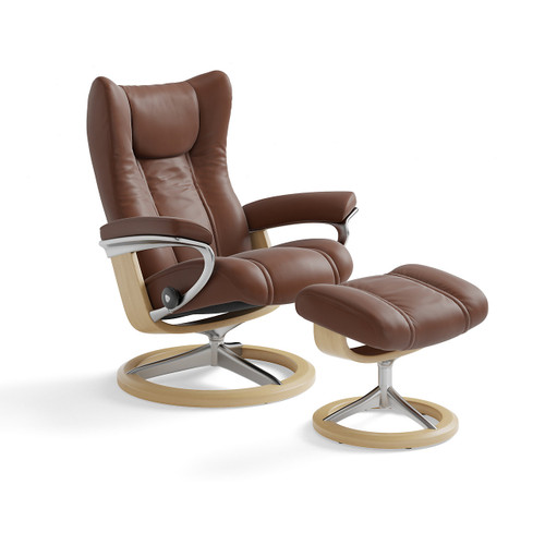 Stressless Wing Chair and Ottoman, Small with Signature Base by Ekornes