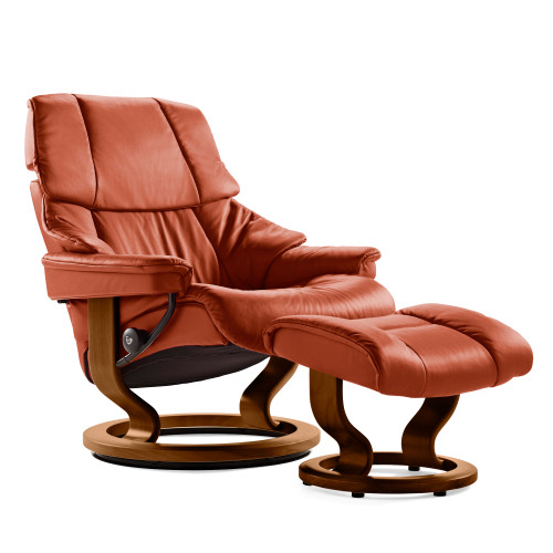 Stressless Reno Chair and Ottoman, Medium with Classic Base by Ekornes