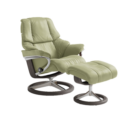 Stressless Reno Chair and Ottoman, Small with Signature Base by Ekornes