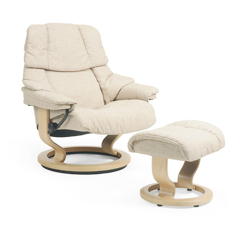 Stressless Reno Chair and Ottoman, Large in Fabric by Ekornes