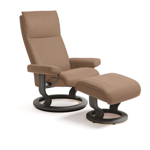 Stressless Aura Chair and Ottoman, Large with Classic Base by Ekornes