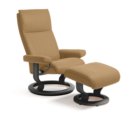 Stressless Aura Chair and Ottoman, Medium with Classic Base by Ekornes