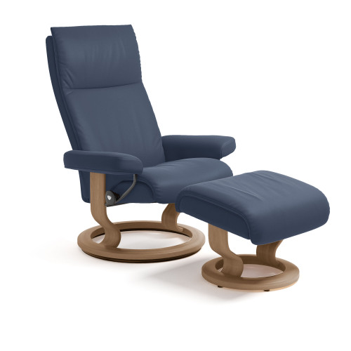 Stressless Aura Chair and Ottoman, Small with Classic Base by Ekornes