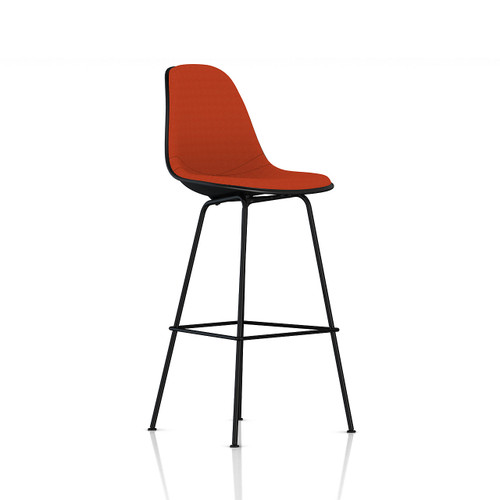 Eames Molded Plastic Upholstered Bar Stool by Herman Miller