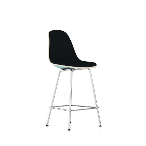 Eames Molded Plastic Upholstered Counter Stool by Herman Miller