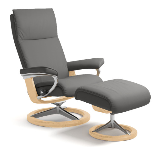 Stressless Aura Chair and Ottoman, Medium with Signature Base by Ekornes