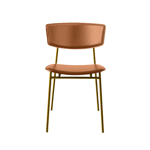 Fifties Metal Leather Chair by Calligaris