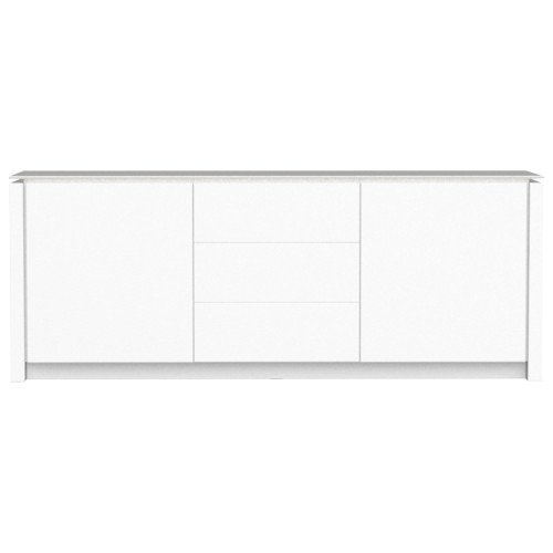 Mag Matt White Wood Cabinet - 2 Side Door - 3 Central Drawer
