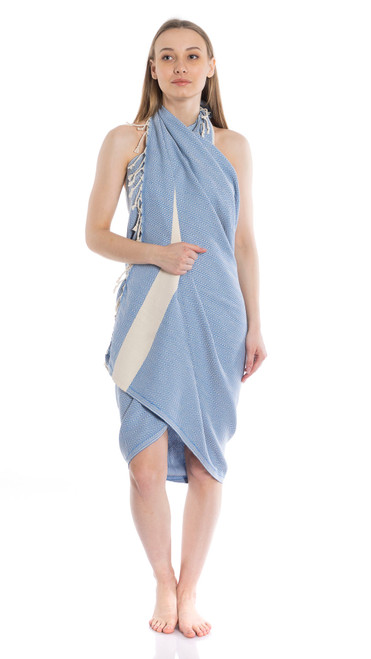 Canadian Towels Classic Handloom 100% Organic Turkish Cotton Towel (Aqua Blue)