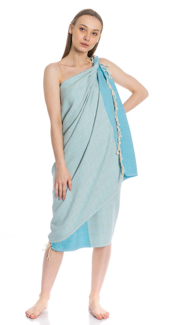 Canadian Towels Traditional Handloom 100% Organic Turkish Cotton Towel (Turquoise)