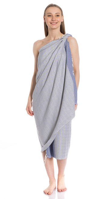 Canadian Towels Traditional Handloom 100% Organic Turkish Cotton Towel (Blue)