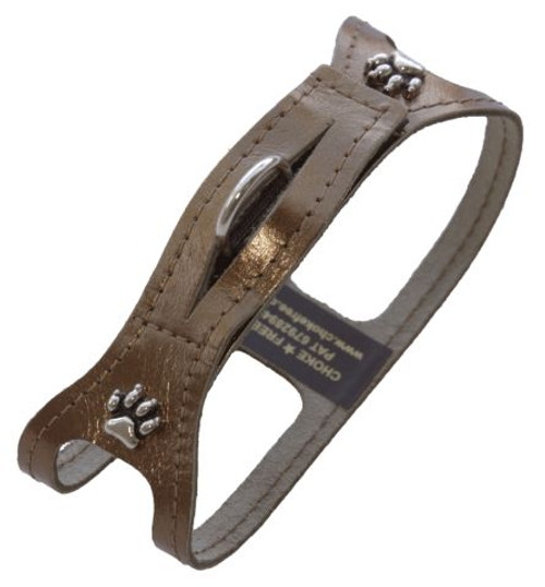 Choke Free Bronze Metallic Soft Leather Dog Harness