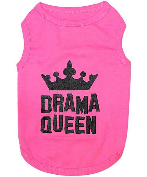 Drama Queen Pet T-Shirt Embroidered Designed 100% Cotton