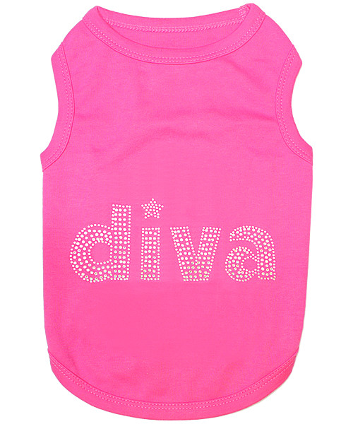 Diva In rhinestone Pet T-Shirt Embroidered Designed 100% Cotton