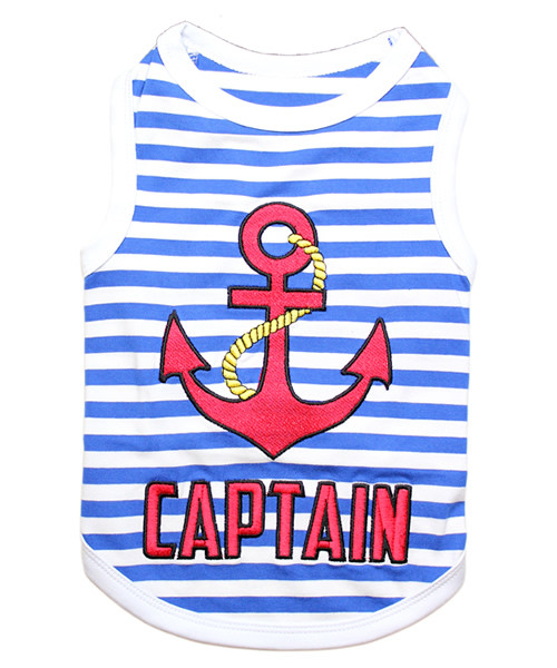 Captain Pet T-Shirt Embroidered Designed 100% Cotton