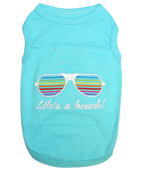 Life's A Beach Pet T-Shirt Embroidered Designed 100% Cotton