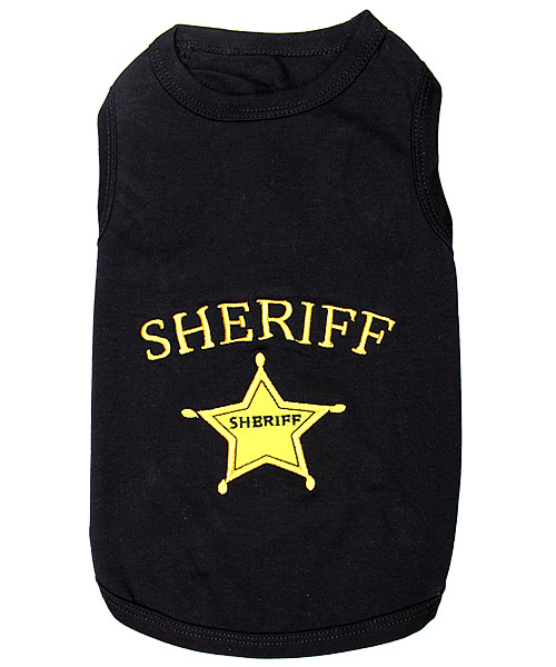 Sheriff Pet T-Shirt Embroidered Designed 100% Cotton