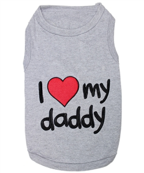 I love my daddy Pet T-Shirt Embroidered Designed 100% Cotton