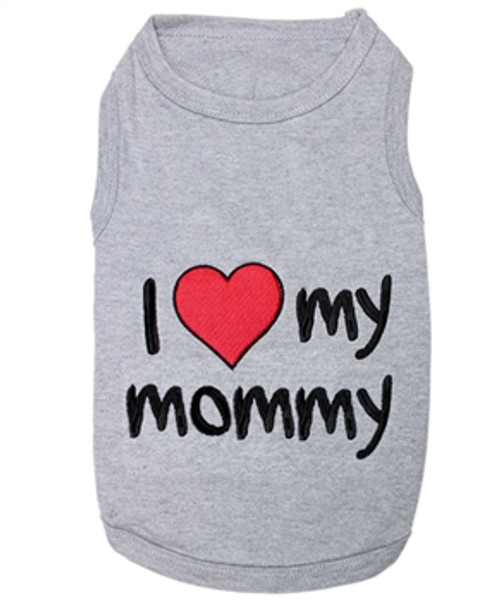 I love my mommy in Gray Pet T-Shirt Embroidered Designed 100% Cotton