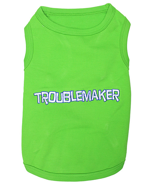 Trouble Maker Pet T-Shirt Embroidered Designed 100% Cotton