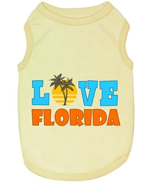 Pet T-Shirt Embroidered Designed 100% Quality Cotton I Love Florida