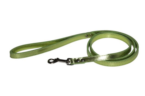 Lime Green Metallic Leather Dog Lead