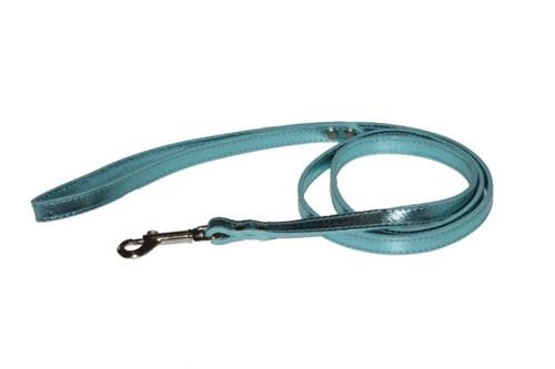 Turquoise Metallic Leather Dog Lead