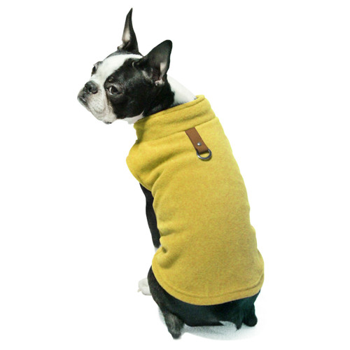 Gooby Pet Fleece Vest Mustard Color