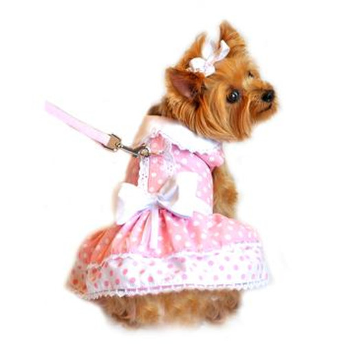 Pink Polka Dot and Lace Harness Dog Dress Set with Leash
