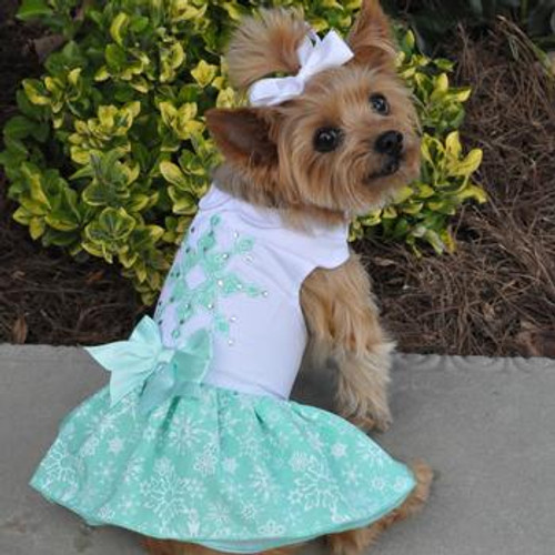 Turquoise Crystal Harness Dress with Matching Leash