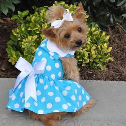 Blue Polka Dot Harness Dress with Matching Leash