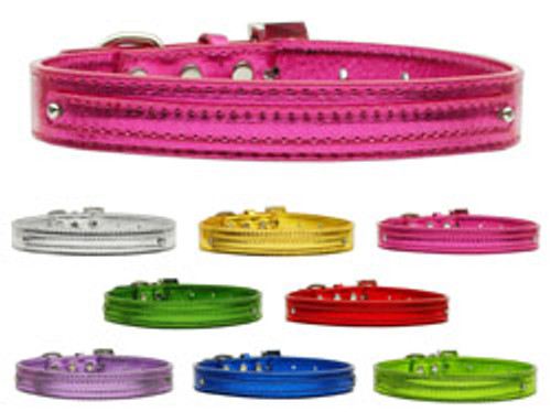 """Metallic Two Tier Collars 1/2"""" With or Without Bling Charms & Letters"""