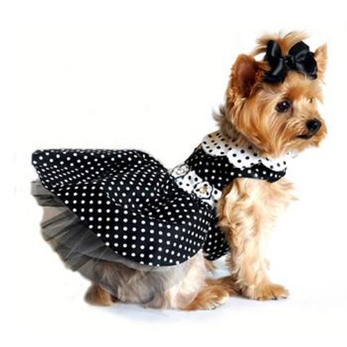 Black/White Polka Dot Harness Dress with Matching Leash