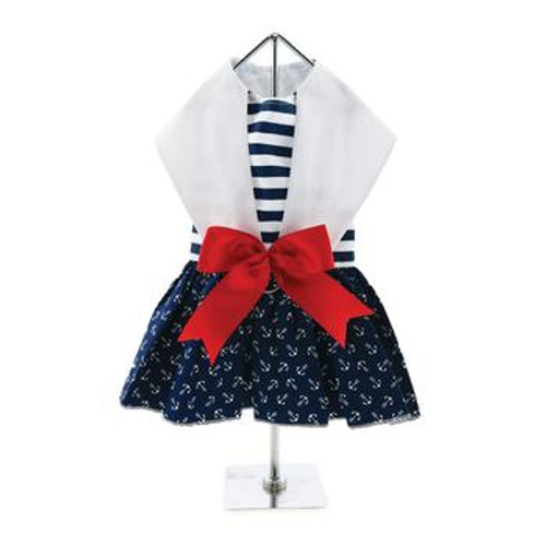 Nautical Harness Dress with Red Ribbon and Matching Leash