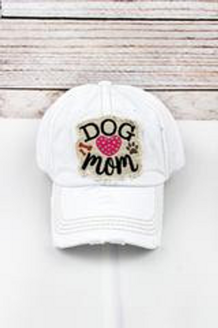 Vintage Dog Mom Rhinestone Heart Ballcap