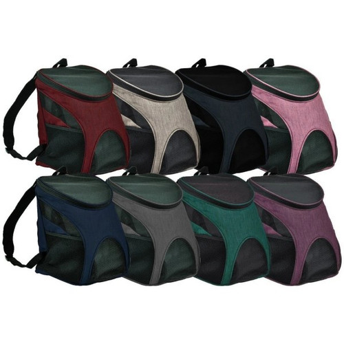 """This back pack is great for when you and your pup are on the go.  Mesh windows on both sides and in the front providing plenty of ventilation.   Airline Approved.  Available in a variety of colors.  Two sizes available:   Small L 8.5"""" x W 11.6"""" x H 13.8"""" for up to 8 lbs  Medium L 11"""" x W 12.6"""" x H 17.3"""" for up to 15 lbs  Free Shipping"""