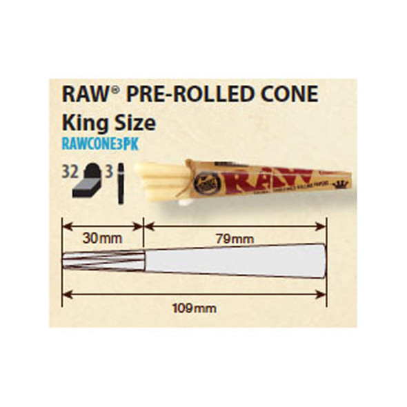 RAW Classic Pre-Rolled Cone King Size 3 per pack