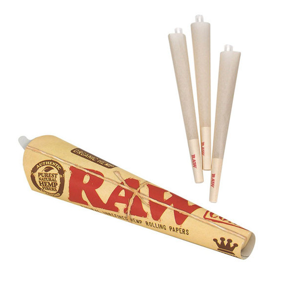 RAW Organic Pre-Rolled Cone King Size 3 per pack