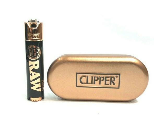 RAW Black Metal Case Clipper Pipe Lighter