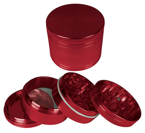 """HAMMERCRAFT 4PC Anodised Red Aluminum CNC Grinder Medium w/Magnet (56mm / 2.25"""")"""