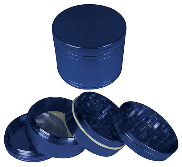 "HAMMERCRAFT 4PC Anodised Blue Aluminium CNC Grinder Small w/Magnet (50mm / 2"")"