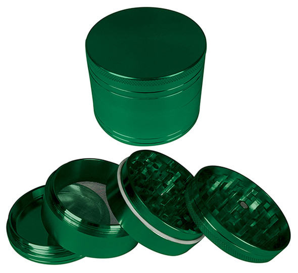 "HAMMERCRAFT 4PC Anodised Green Aluminium CNC Grinder Small w/Magnet (50mm / 2"")"