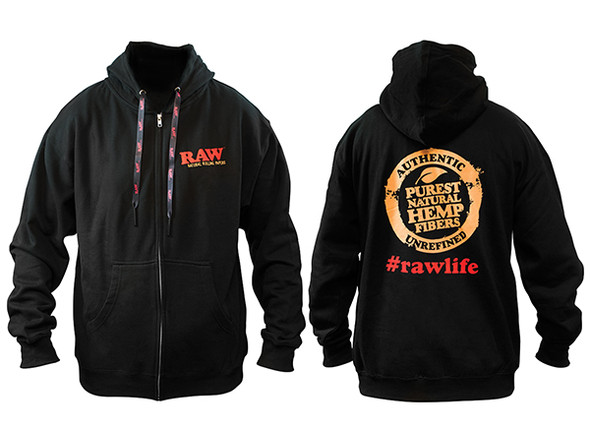 RAW Black Zip Hoodie With RAW Poker Laces XL