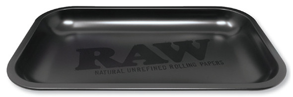RAW Black Matte Rolling Tray Metal Small