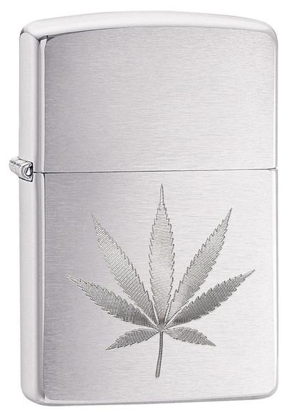 Zippo Chrome Marijuana Leaf Design